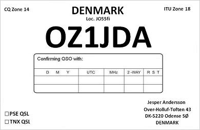 OSL from OZ1JDA, Denmark